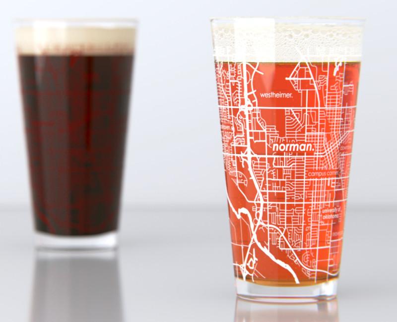 NORMAN, OK - UNIVERSITY OF OKLAHOMA - COLLEGE TOWN MAP PINT GLASS SET