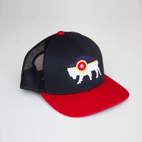 Bison Tulsa Flag Embroidered Trucker Hat