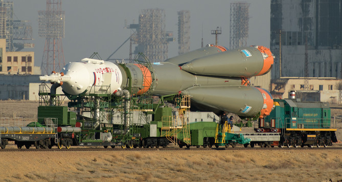 Soyuz Rollout to the Launch Pad