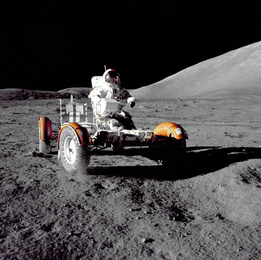 Astronaut Eugene A. Cernan with the Lunar Roving Vehicle
