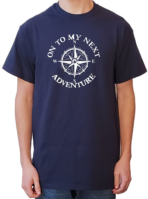 On To My Next Adventure blue t-shirt