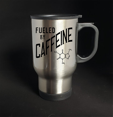 Fuel By Caffeine stainless steel travel mug