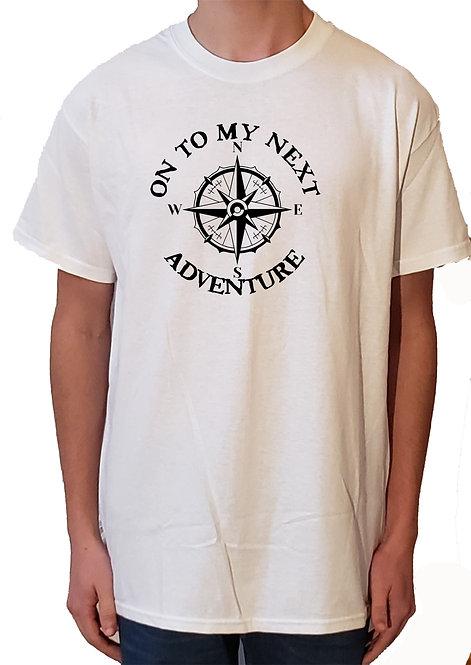 On To My Next Adventure white t-shirt