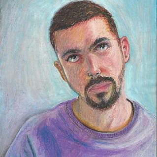 Henrique Dantas - Autorretrato giz pastel oleoso sobre Canson