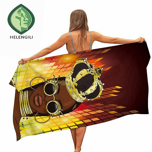 HELENGILI African Style Microfiber Pool Beach Towel Portable Quick Fast Dry Sand