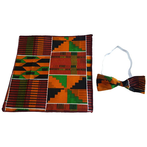 Men's Kente Ankara Fabric African Print Bow Tie & Pocket Square Hankerchief Set