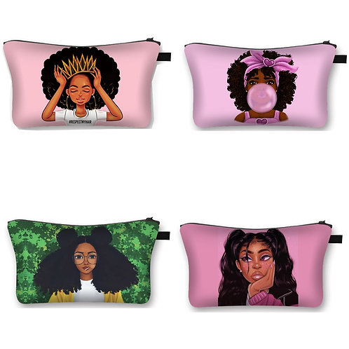 Cute Afro Girl Print Cosmetic Case Africa Women Fashion Makeup Bag Ladies