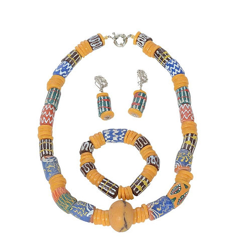 Authentic Handmade Vintage African Trade Beads Necklace, Earrings & Bracelet Set