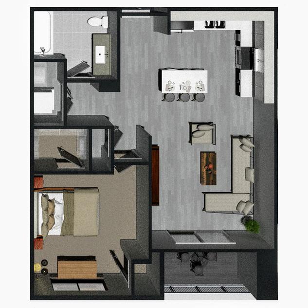 1 Bedroom [A] / $1,195