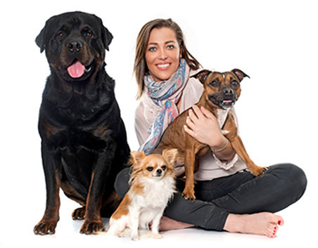 DP Woman with 3 Dogs small.jpg