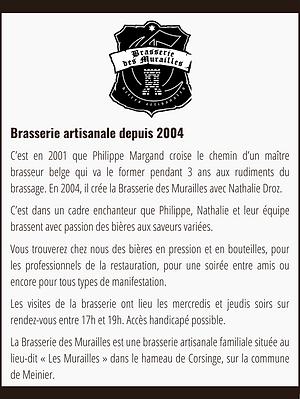 Présentation Brasserie des Murailles