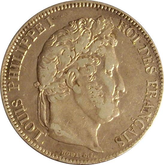 FRANCIA. LUIS FELIPE I, 5 FRANCOS 1.833 PARÍS