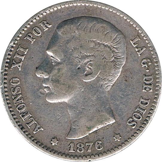 ESPAÑA. ALFONSO XII.  1 PESETA 1.876*76 DE-M
