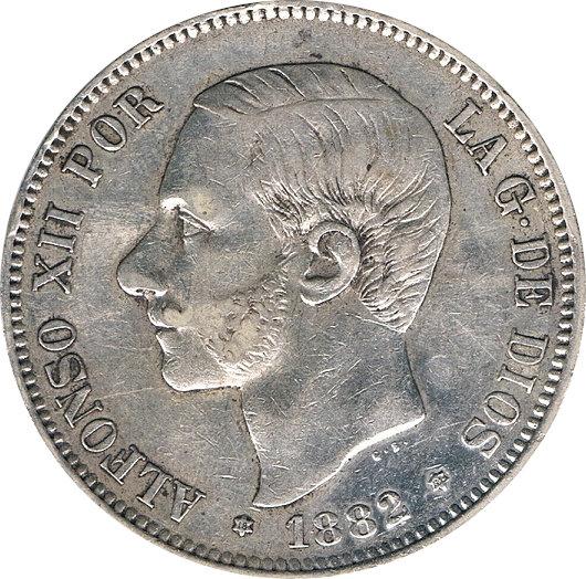 ESPAÑA. ALFONSO XII.  5 PESETAS 1.882*82 MS-M