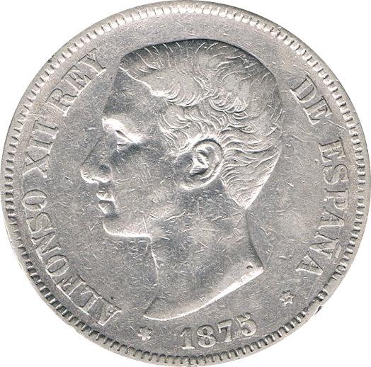 ESPAÑA. ALFONSO XII.  5 PESETAS 1.875*75 DE-M. OREJA RAYADA