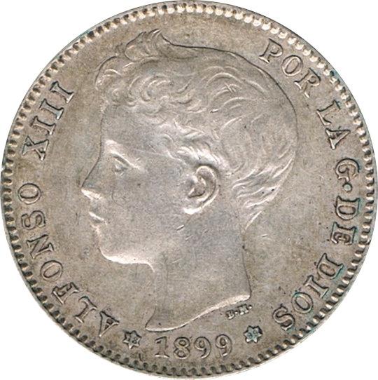 ESPAÑA. ALFONSO XIII.  1 PESETA 1899*99 SGV