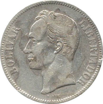 VENEZUELA. 5 BOLÍVARES 1.889