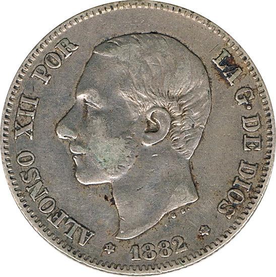 ESPAÑA. ALFONSO XII.  2 PESETAS 1.882*82 MS-M