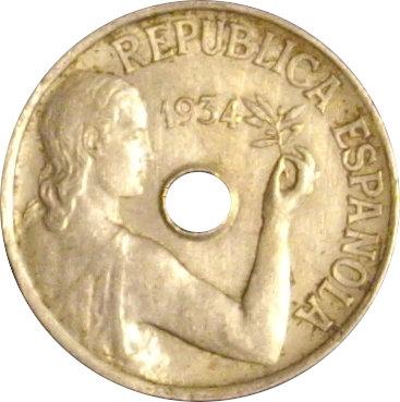 ESPAÑA. SEGUNDA REPÚBLICA. 25 CÉNTIMOS 1.934