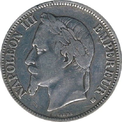 FRANCIA. NAPOLEÓN III. 5 FRANCOS 1.869 ESTRASBURGO