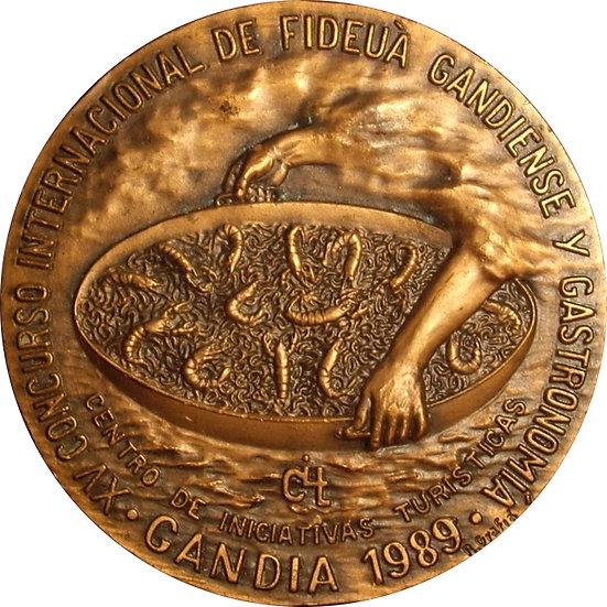 ESPAÑA. MEDALLA DEL XV CONCURSO INTERNACIONAL DE FIDEUA. GANDÍA 1989