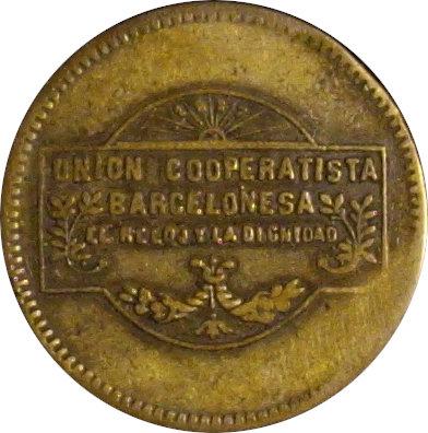 ESPAÑA. COOPERATIVA EL RELOJ Y LA DIGNIDAD. 10 CÉNTIMOS. BARCELONA. 1.927