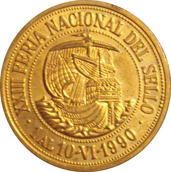 ESPAÑA. MEDALLA XIII FERIA NACIONAL DEL SELLO. MADRID 1.990
