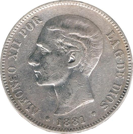 ESPAÑA. ALFONSO XII.  5 PESETAS 1.881*81 MS-M