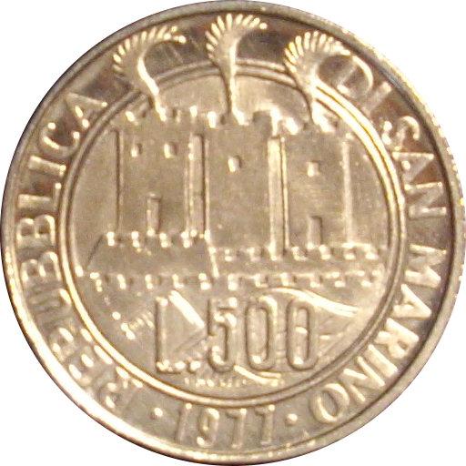 SAN MARINO. 500 LIRAS. 1.977