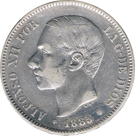 ESPAÑA. ALFONSO XII.  5 PESETAS 1.885*85 MS-M