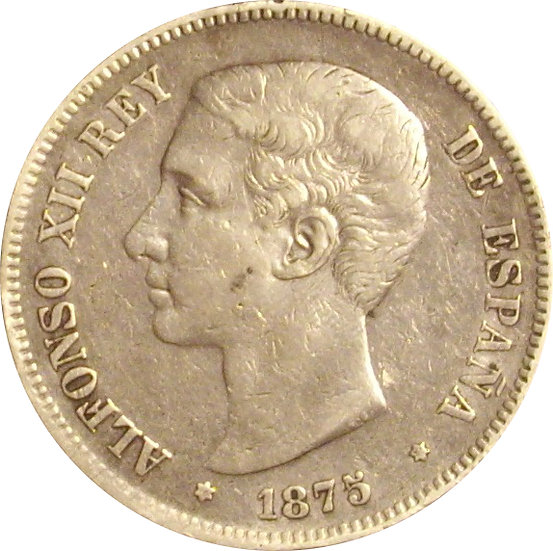 ESPAÑA. ALFONSO XII.  5 PESETAS 1.875*75 DE-M