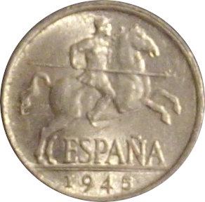 ESPAÑA. FRANCISCO FRANCO. 5 CÉNTIMOS 1.945