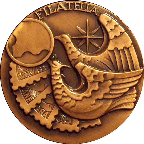 ESPAÑA. MEDALLA XIII EXPOSICIÓN FILATÉLICA STA. COLOMA. 1.974