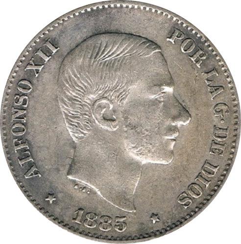 ESPAÑA. ALFONSO XII.  50 CENTAVOS DE PESO. 1.885. MANILA