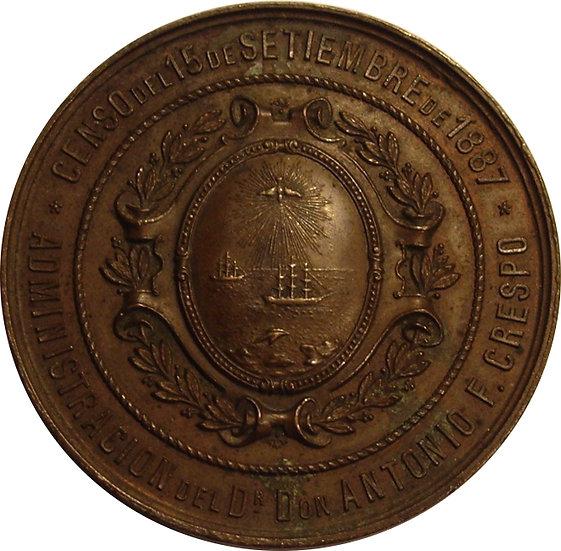 ARGENTINA. MEDALLA CENSO EMPADRONAMIENTO GENERAL. 1.887