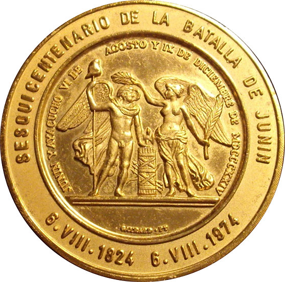 VENEZUELA. MEDALLA SESQUICENTENARIO BATALLA JUNÍN. 1.974