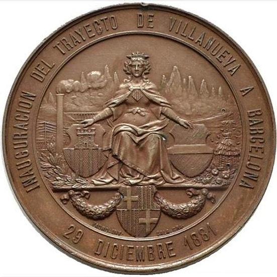 ESPAÑA. ALFONSO XII. MEDALLA INAUGURACIÓN FF.CC. VILLANUEVA. 1.881