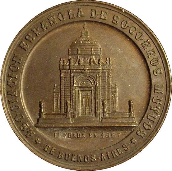 ARGENTINA. MEDALLA ASOCIACIÓN SOCORROS MUTUOS BUENOS AIRES. 1.896