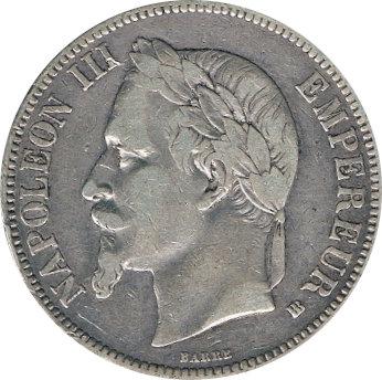 FRANCIA. NAPOLEÓN III. 5 FRANCOS 1.867 ESTRASBURGO