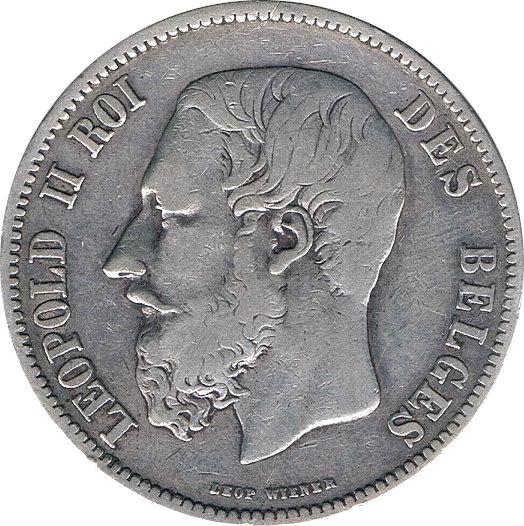 BÉLGICA. 5 FRANCOS. 1.869
