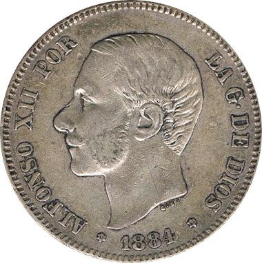ESPAÑA. ALFONSO XII.  2 PESETAS 1.884*84 MS-M