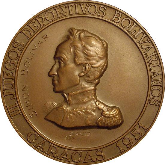 VENEZUELA. MEDALLA III JUEGOS BOLIVARIANOS. CARACAS. 1.951