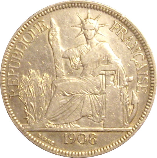 INDOCHINA FRANCESA. 1 PIASTRA. 1.908