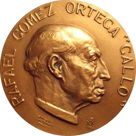 """ESPAÑA. MEDALLA TORERO RAFAEL GOMEZ ORTEGA """"GALLO"""". 1.986"""