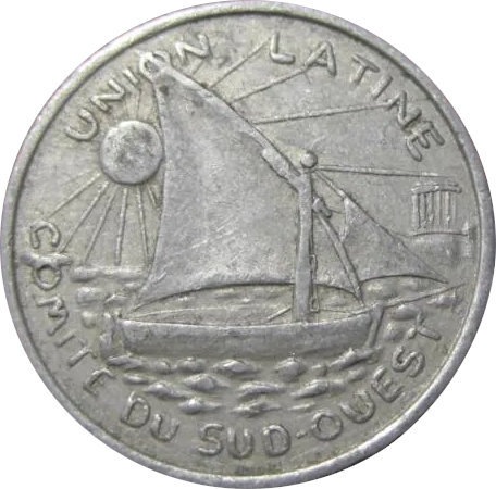 FRANCIA. UNIÓN LATINA. COMITÉ DEL SUDOESTE. 25 CÉNTIMOS. 1922-1930