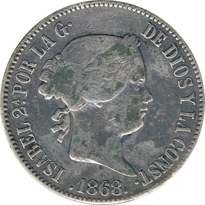ESPAÑA. ISABEL II. 50 CENTAVOS PESO 1.868 MANILA
