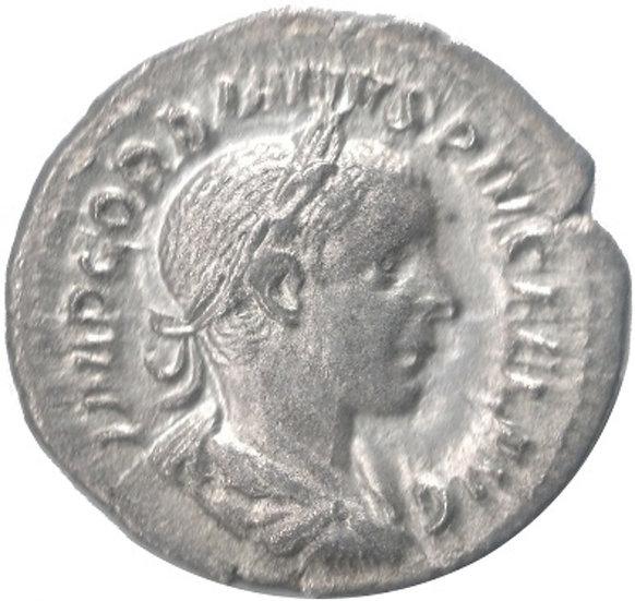 GORDIANO III PÍO. DENARIO IOVIS STATOR