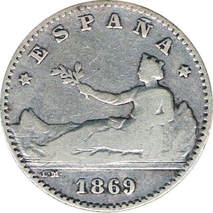 ESPAÑA. GOBIERNO PROVISIONAL.  50 CÉNTIMOS 1.869*69 SN-M