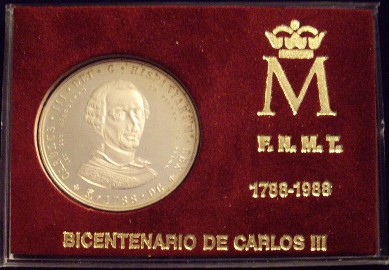 ESPAÑA. BICENTENARIO CARLOS III. SET 2 MEDALLAS. 1.988