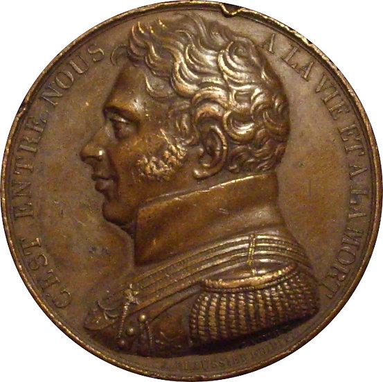 FRANCIA. LUIS XVIII. MEDALLA MONUMENTO HOMENAJE AL DUQUE DE BERRY. 1.822